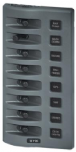 Blue Sea WEATHERDECK(TM) WATERPROOF PANEL, 8 way.  Switch only. No Backlight or Fuses.  Incl. VAT
